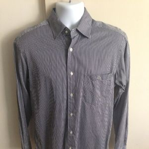 LACOSTE LONG SLEEVE NAVY BUTTON UP SHIRT